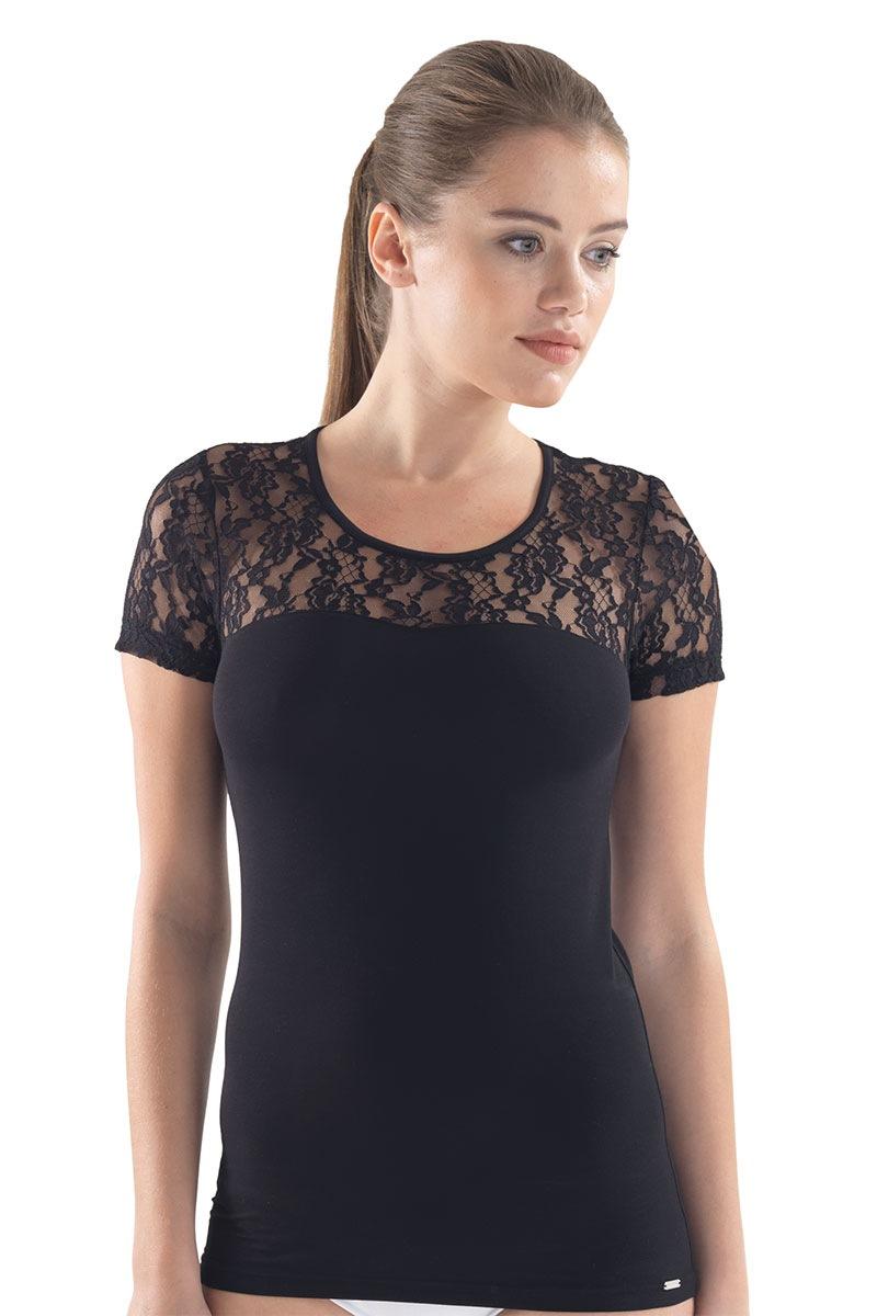 Женская футболка Camila с кружевными рукавами Blackspade