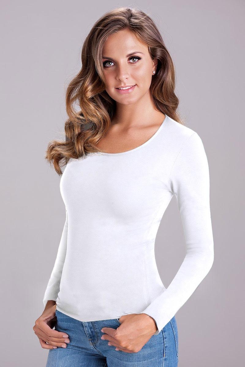 Женская футболка с длинными рукавами Nika White COTONELLA