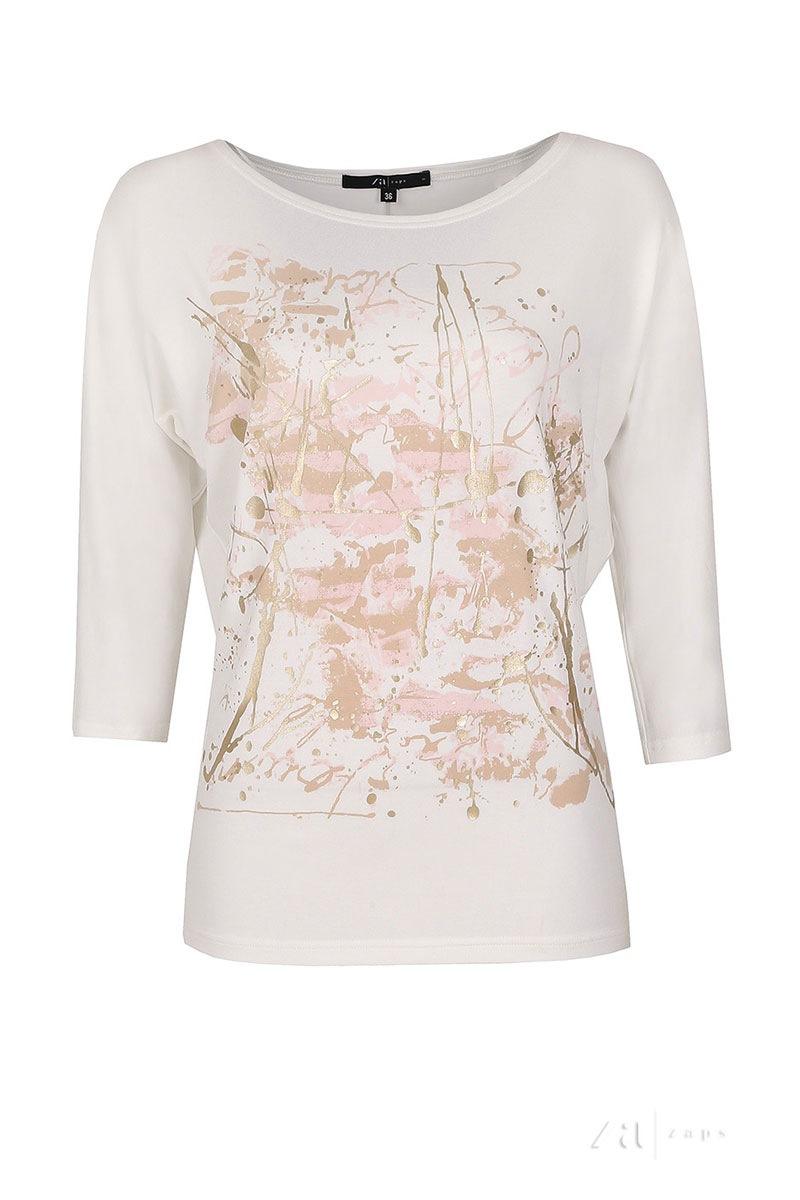 Женская блуза с золотистым принтом Arena White Zaps