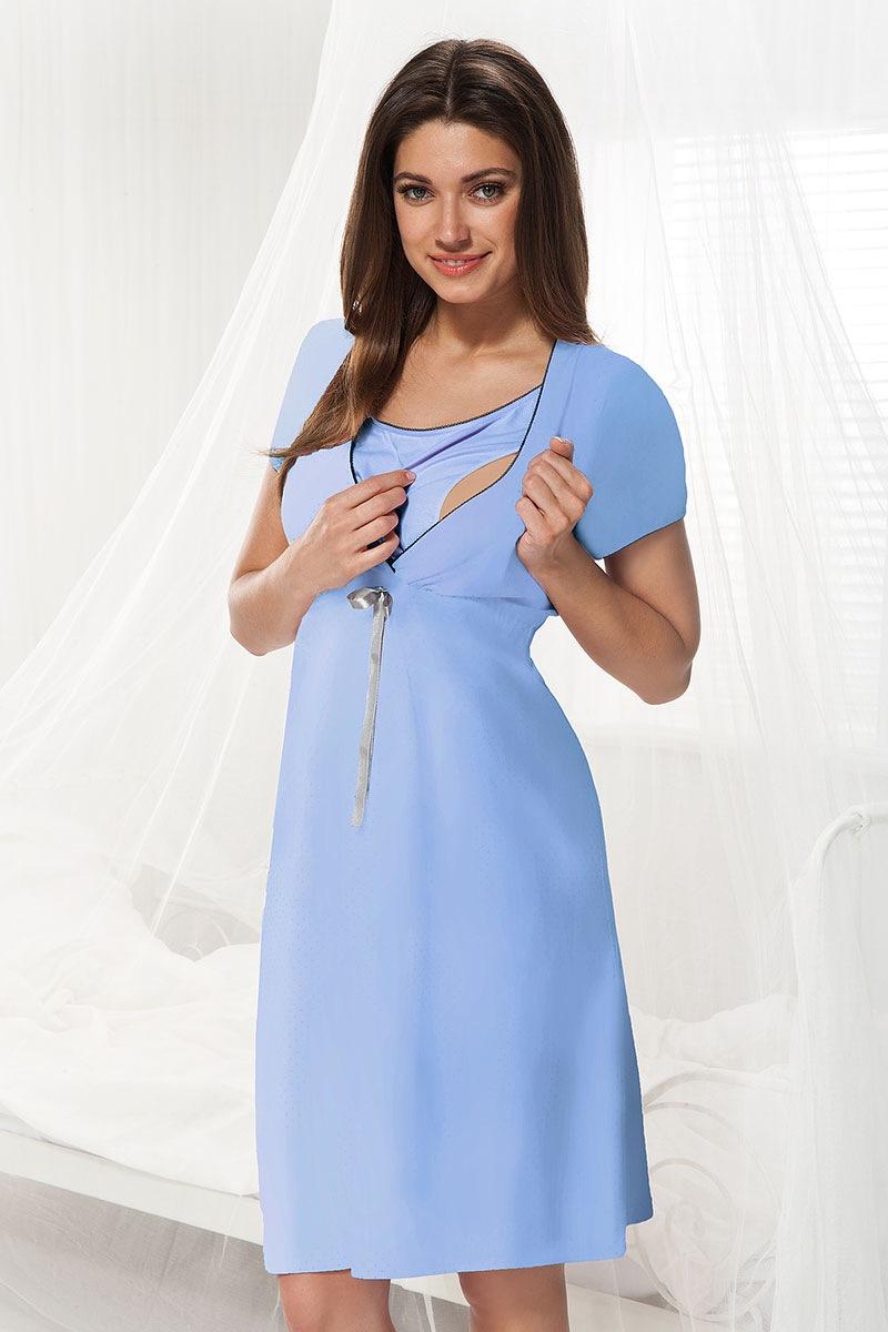 Сорочка для беременных и кормящих мам Dorota синяя Dorota