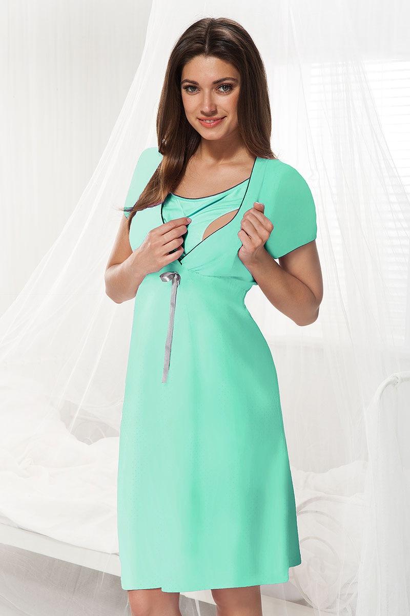 Сорочка для беременных и кормящих мам Dorota мята Dorota
