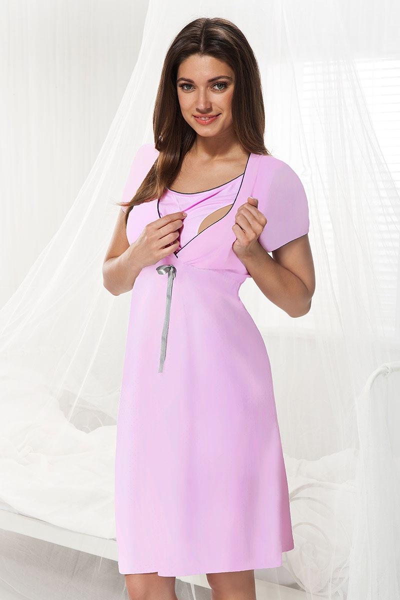 Сорочка для беременных и кормящих мам Dorota розовая Dorota