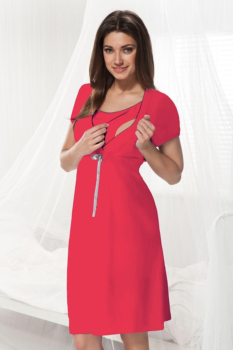 Сорочка для беременных и кормящих мам Dorota малиновая Dorota