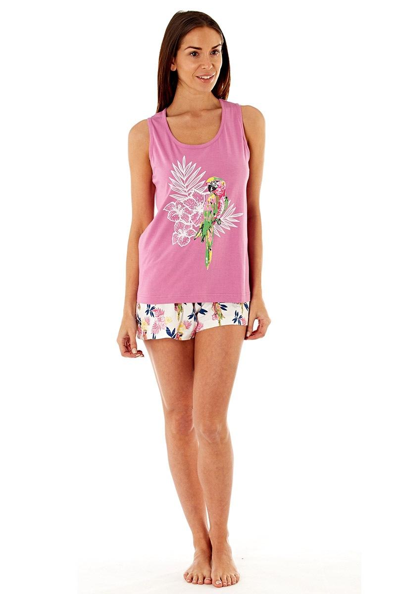 Женская хлопковая пижама Parrot Pink с шортами