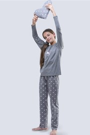 Пижама для девочек Meow серая